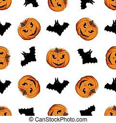 patrón, coloreado, tema, grande, halloween, ilustración