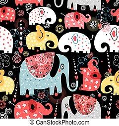 patrón, colorido, elefantes