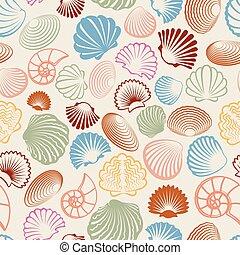 patrón, colorido, seamless, conchas de mar