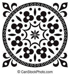 patrón, colors., dibujo, negro, azulejo, mano, blanco