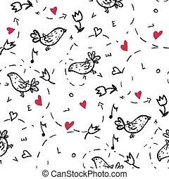 patrón, con, amor, corazones, y, aves