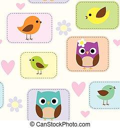 patrón, con, aves