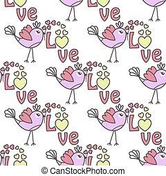 patrón, con, aves, y, corazones