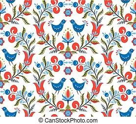 patrón, con, aves, y, flores