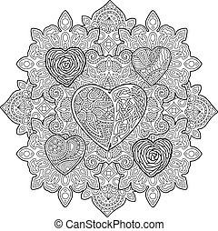 patrón, con, corazones, para, libro colorear, página