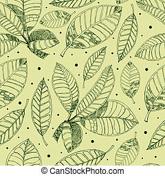 patrón, con, freehand, café, leafs