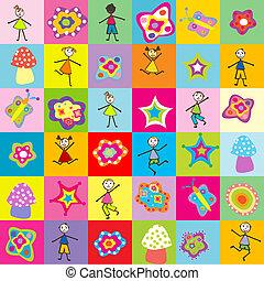 patrón, con, juguetes, y, niños, para, jardín de la infancia
