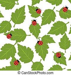 patrón, con, mariquita, y, hojas verdes