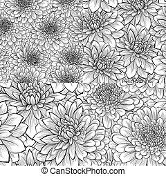 patrón, conjunto, seamless, flor