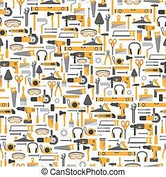 patrón, construcción, herramientas, seamless