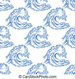 patrón, contorno, onda, curling, delicado