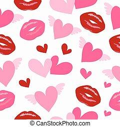 patrón, corazones, primitivo, labios, retro, diferente, seamless