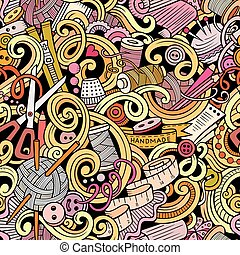 patrón, costura, hechaa mano, seamless, doodles, caricatura