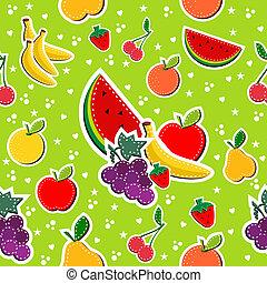 patrón, costura, seamless, colores, fruits, bloque