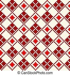 patrón, cruz, seamless, stich, rojo