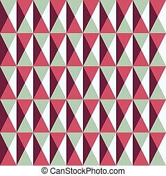 patrón, cuadrados, seamless, triángulos