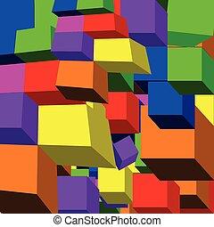 patrón, cubo, 3d