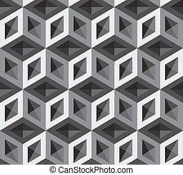 patrón, cubos, 3d