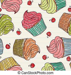 patrón, cupcakes, seamless