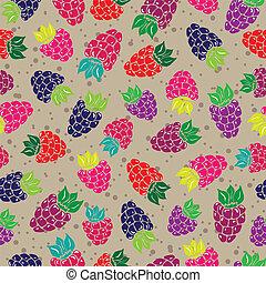 patrón decorativo, con, salvaje, y, jardín, bayas, seamless,...