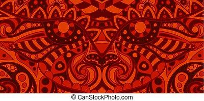 patrón decorativo, llameante, mal, cara, rojo
