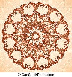 patrón decorativo, seamless, indio, mehndi, mandala, estilo