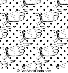 patrón, dedos, señalar, seamless