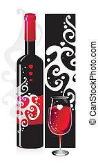 patrón del corazón, símbolos, botella de vidrio, composición, vino rojo