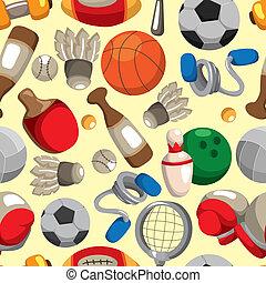 patrón, deporte, seamless, bienes