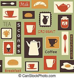 patrón, desayuno, retro, platos, cocina