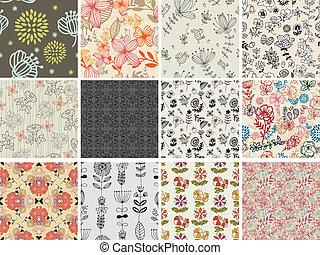 patrón, diferente, conjunto, flores, seamless