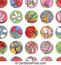 patrón, diferente, flores,  seamless