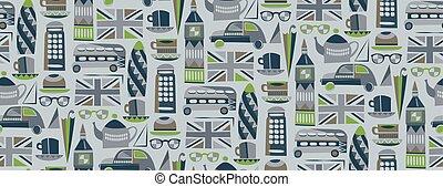 patrón, diseño gráfico, seamless, londres