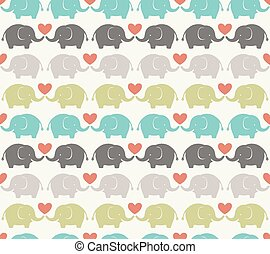 patrón, elefante, caricatura, seamless