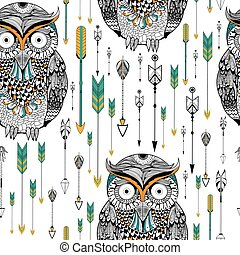patrón, estilo, búho, seamless, tribal, boho