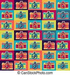 patrón, estilo, cameras., seamless, retro