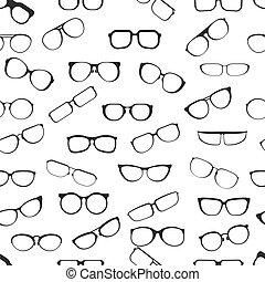 patrón, estilos, vector, vista, aislado, caricatura, vario, encuadrado, plano, seamless, plástico, anteojos