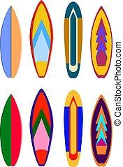 patrón, extremo, vector, realista, oleaje, designs., color, tabla de surf, set., colorido, conjunto, ilustración, tablas, tabla, natación