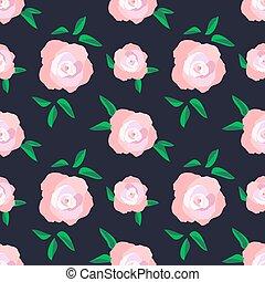 patrón, exuberante, seamless, rosas, florecimiento, negrita