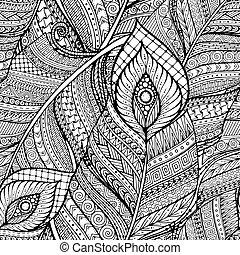 patrón, feathers., garabato, negro, blanco, étnico, plano de fondo, seamless