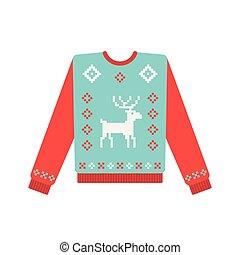 patrón, feo, navidad, venado, suéter