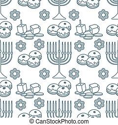 patrón, feriado, vector, hanukkah, seamless, judío