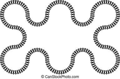 patrón, ferrocarril, ondulado, ferrocarril