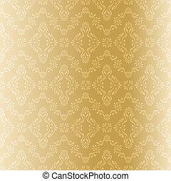 patrón, filigrana, seamless, oro