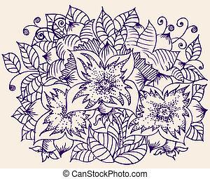 patrón, flor, campo