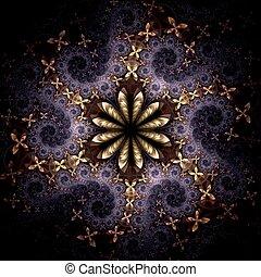 patrón, flor, fractal, amarillo, violeta