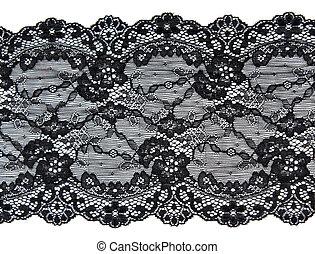 patrón, flor, negro, encaje, manera