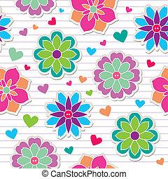 patrón, flor, pegatinas, seamless