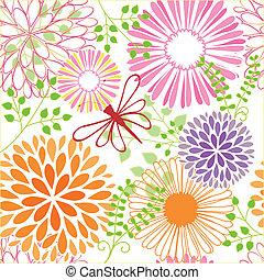 patrón, flor, primavera, colorido, seamless