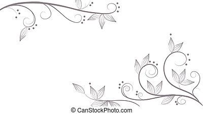 patrón, flor, vides